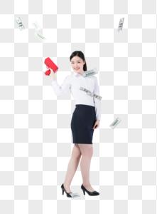 职业女性手拿喷钱枪图片图片