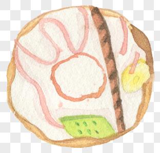 水彩手绘甜甜圈图片