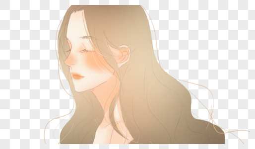 长发少女的侧脸图片