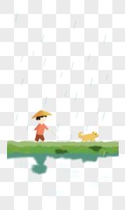 雨水小孩与狗图片