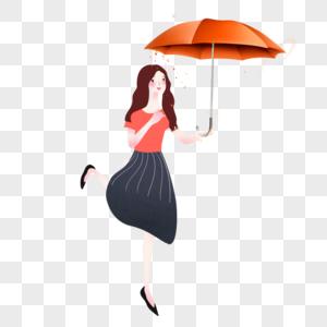 伞下女孩图片