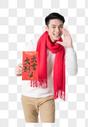 新年男性开心的拿着红包图片