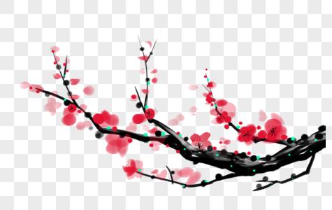 水墨画梅花枝图片