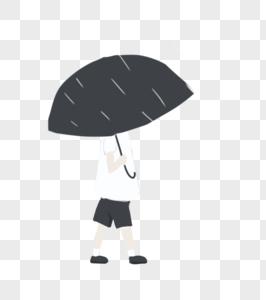 雨中出行打伞男孩图片
