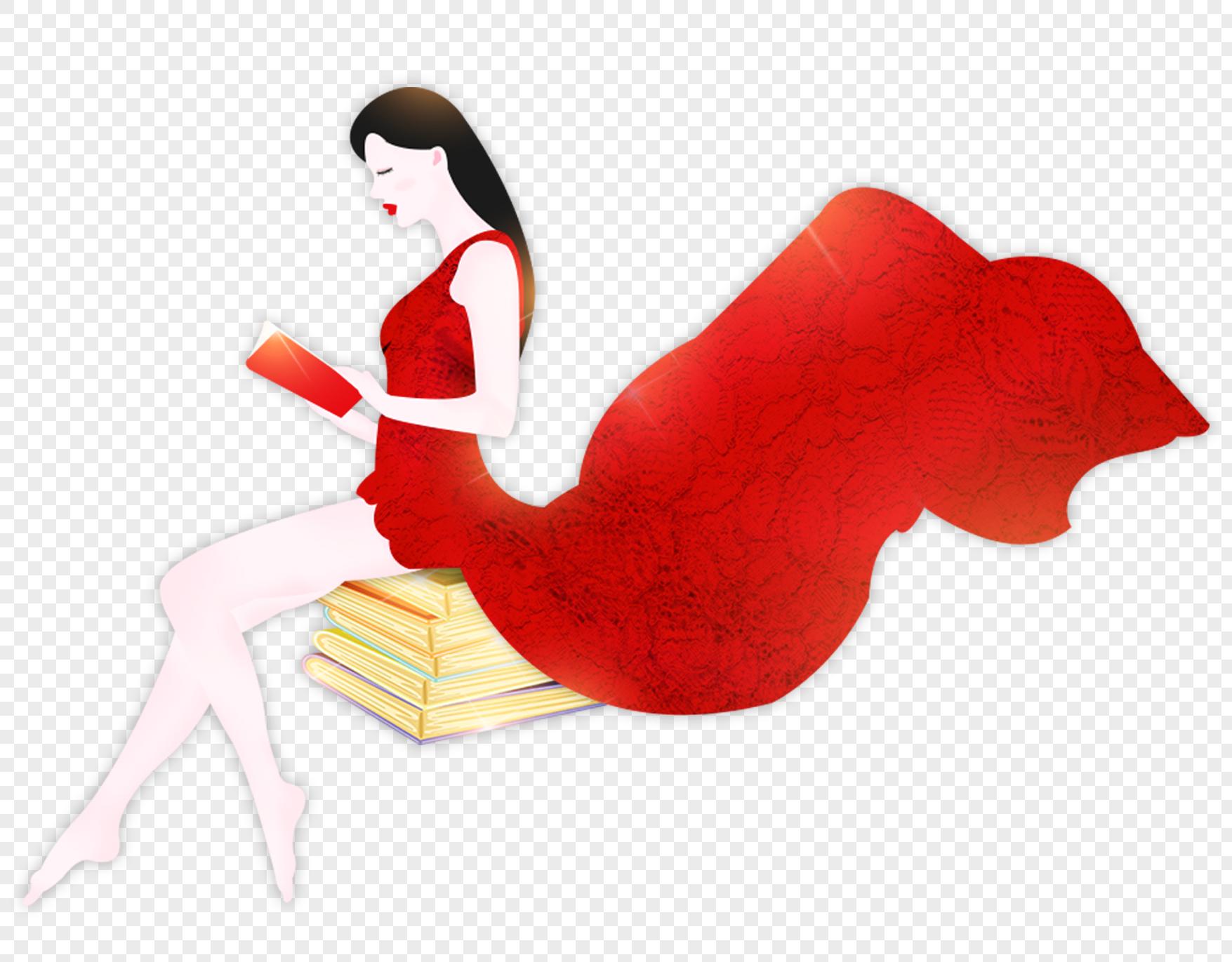 手绘/卡通元素 读书日红裙子读书女孩.