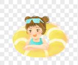 游泳圈女孩图片