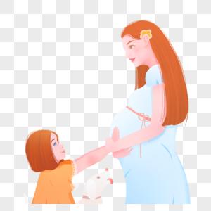 母亲节孕妈妈与女孩图片