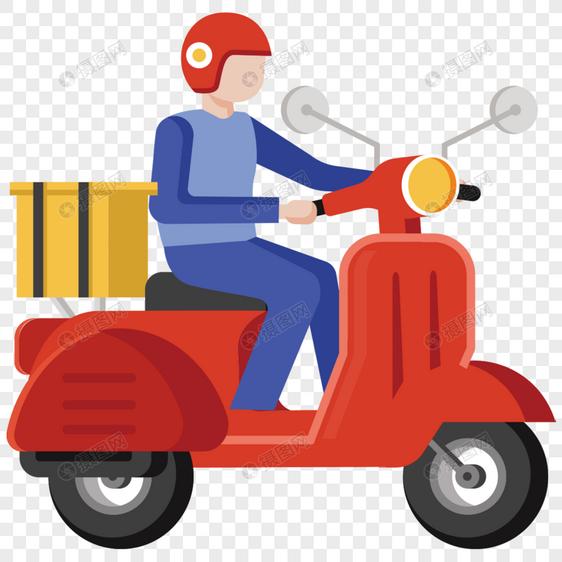骑摩托送货图片