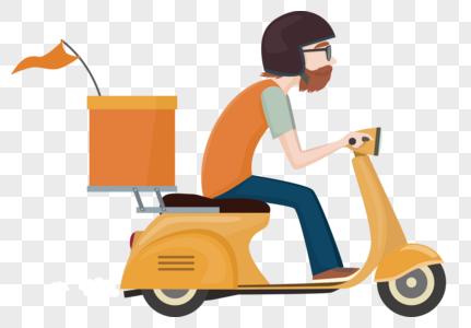 骑摩托车配送员图片