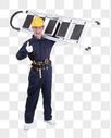 工人扛着梯子动作底图图片