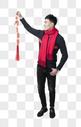 新年男士人像手持红鞭炮图片