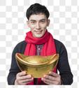 新年喜庆男士人像手捧金元宝图片