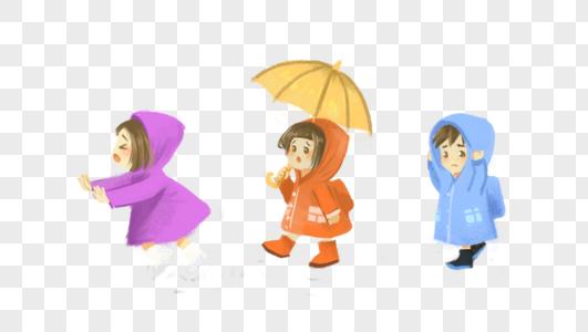 躲雨的学生图片
