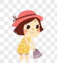 小女孩捕鱼图片