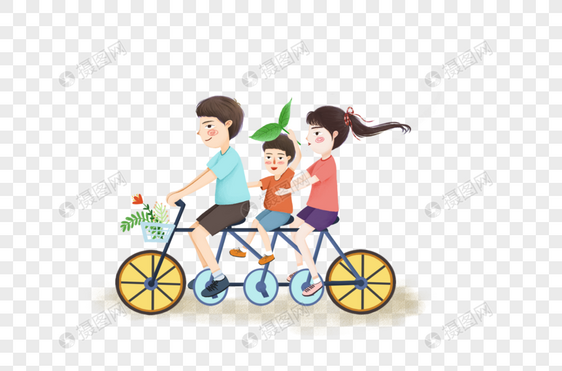 骑自行车亲子出游图片