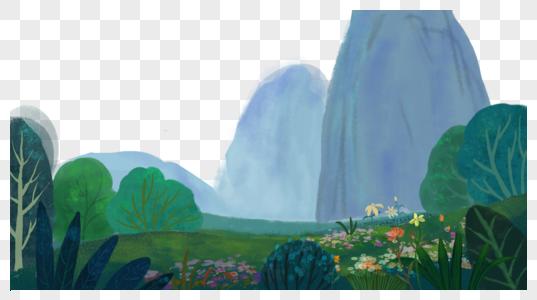 草地远山图片