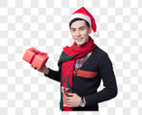 圣诞喜庆男性人像送礼物图片