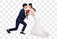情侣婚纱男生单膝跪地女生图片