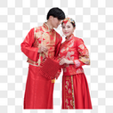 穿红装的情侣手持中国结图片