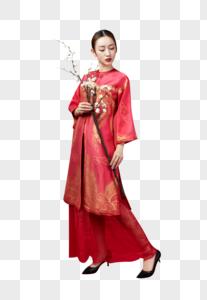 红妆美女与梅花图片