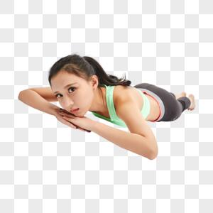青年女性趴在地上图片