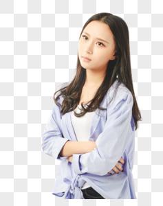年轻女孩生气不开心表情图片