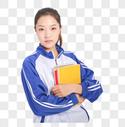 女高中生抱着书本形象图片