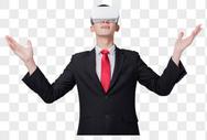商务人士使用vr眼镜夸张手势图片