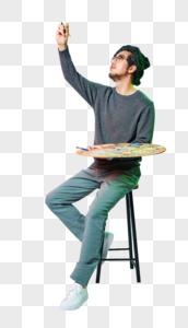 休闲男性色彩创意画画动作图片