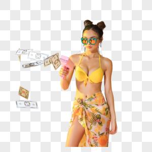 时尚比基尼美女手持喷钱枪图片