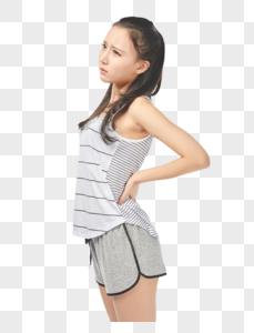 青年女性腰疼图片