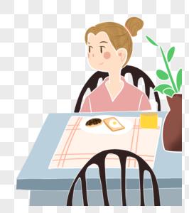 准备吃早餐的女孩图片
