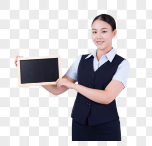 手拿黑板的职业女性图片