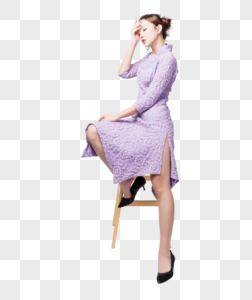 旗袍美女妩媚性感坐姿图片