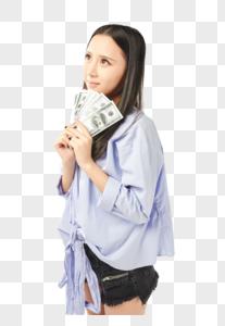 女孩拿着钱期盼的表情图片