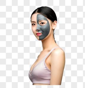 性感美女使用面膜图片