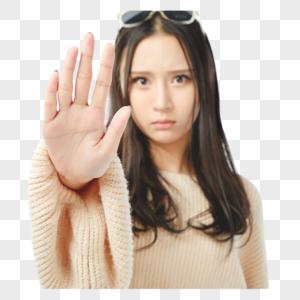 年轻女孩五指张开手势动作图片
