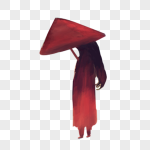打伞红色背影女孩图片