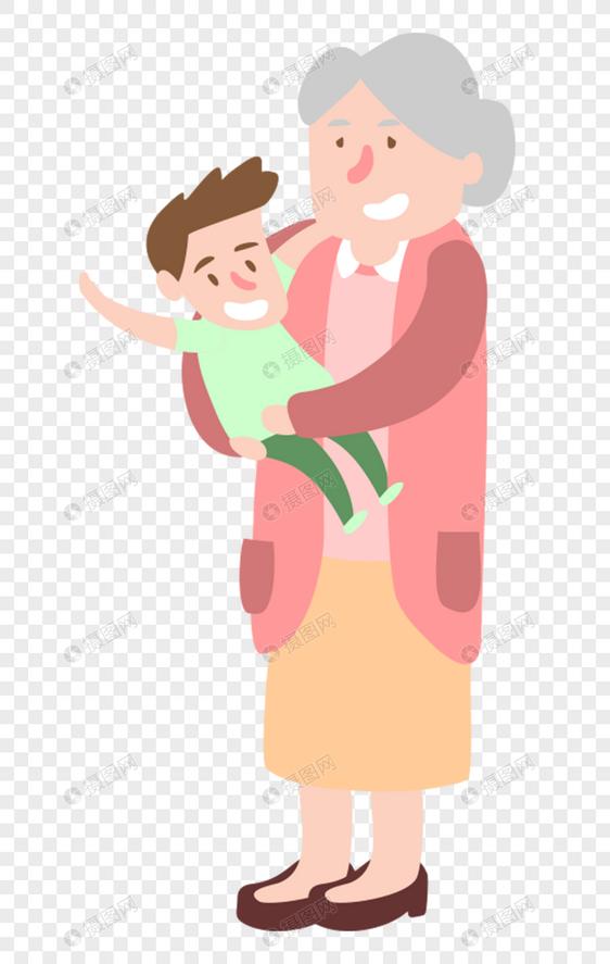 奶奶怀里抱着孙子图片