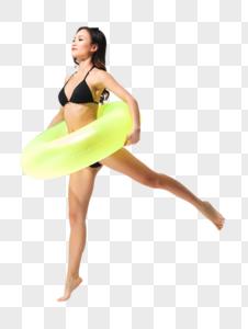 黑色比基尼泳装美女拿着泳圈图片