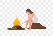 看火的女人图片