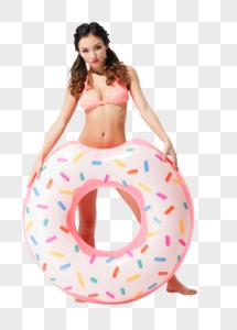 穿粉色比基尼的可爱女生拿着甜甜圈泳圈图片
