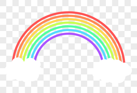 白色云朵卡通彩虹图片