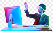 商务男性创意色彩vr科技未来动作图片