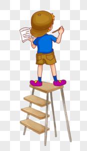 站在梯子上画墙绘图片