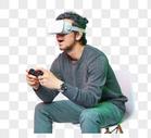 休闲男性彩色创意vr游戏动作图片