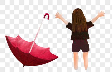 雨伞女孩背影图片
