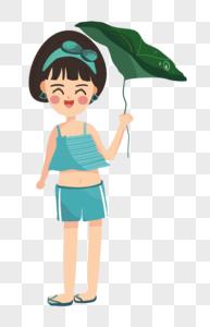 卡通可爱女孩 荷叶雨伞图片