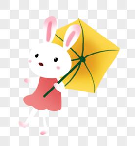 打伞小兔图片