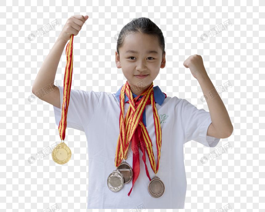 女生获得奖牌图片